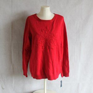 Karen Scott XL Sweater Red Snowflake Print Top